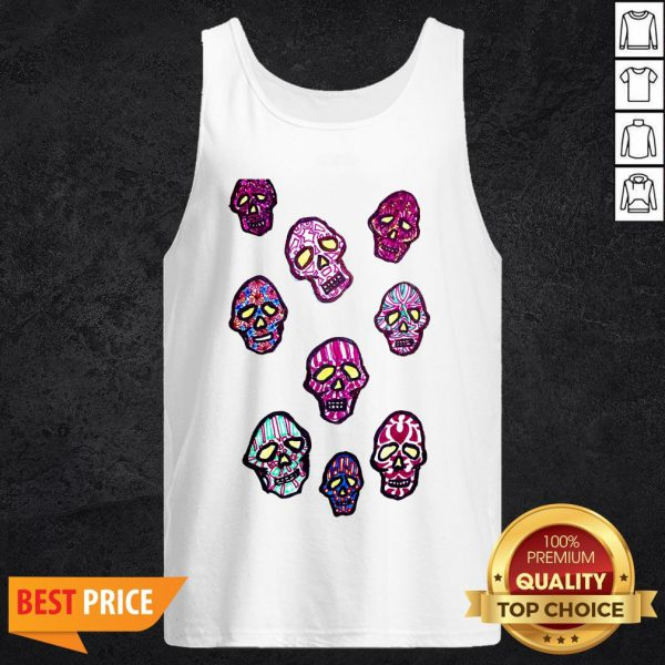 Dancing Colored Sugar Skulls T-Tank Top