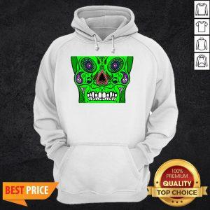Day Of Dead Dia De Los Muertos Green Sugar Skull White Hoodie