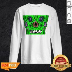 Day Of Dead Dia De Los Muertos Green Sugar Skull White Sweatshirt