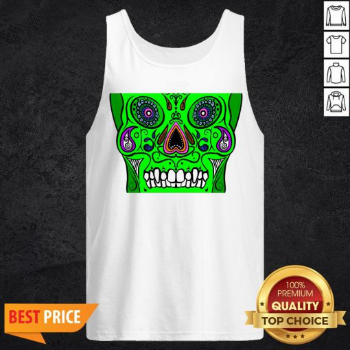 Day Of Dead Dia De Los Muertos Green Sugar Skull White Tank Top