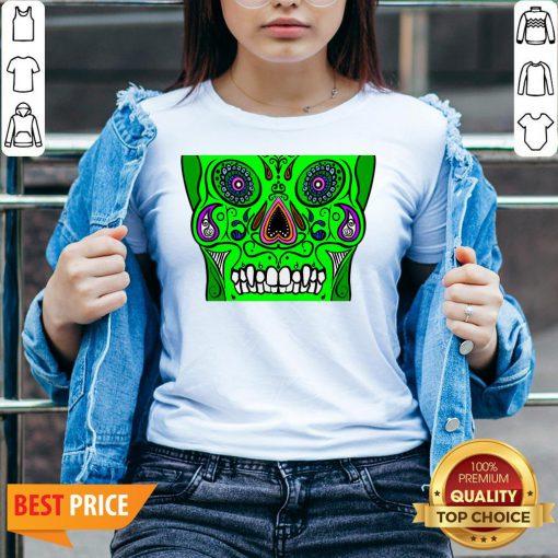 Day Of Dead Dia De Los Muertos Green Sugar Skull White V-neck