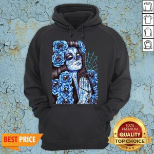 Day Of The Dead Blue Sugar Skull Girl Hoodie