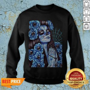 Day Of The Dead Blue Sugar Skull Girl SweatshirtDay Of The Dead Blue Sugar Skull Girl Sweatshirt