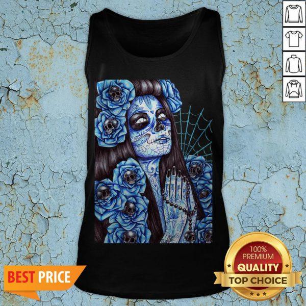 Day Of The Dead Blue Sugar Skull Girl Tank Top