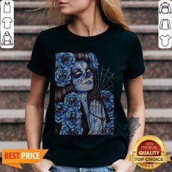Day Of The Dead Blue Sugar Skull Girl V-neck