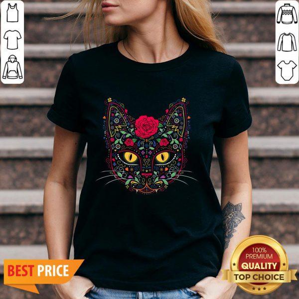 Day Of The Dead Muertos Kitty Cat Sugar Skull V-neck