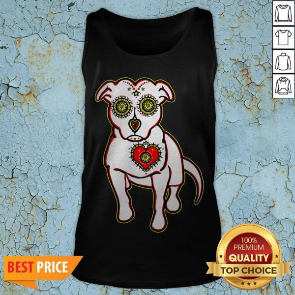 Day Of The Dead Styled Pitbull Dia De Los Muertos Tank Top