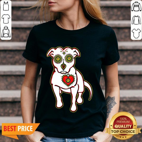 Day Of The Dead Styled Pitbull Dia De Los Muertos V-neck