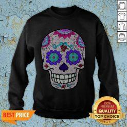 Day of the Dead Sugar Skull Purple Eyes T-Sweatshirt