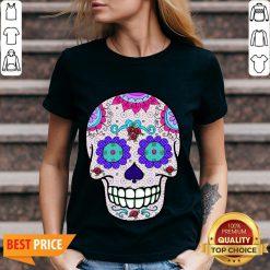 Day of the Dead Sugar Skull Purple Eyes T-V-neck