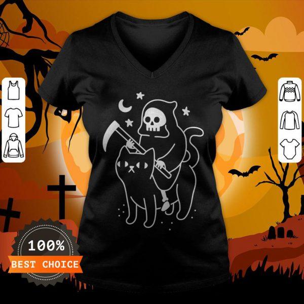 Death Rides A Black Cat Classic V-neck