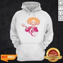 Dia De Los Muertos Mexican Skull Playing Guitar T-Hoodie