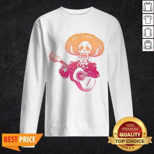 Dia De Los Muertos Mexican Skull Playing Guitar T-Sweatshirt