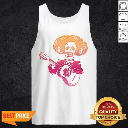 Dia De Los Muertos Mexican Skull Playing Guitar T-Tank Top