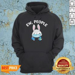 Ew People Rabbit Wearing A Face Mask With Hand Sanitiz T-Hoodie