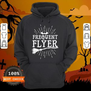 Frequent Flyer Vintage Bat And Witch Halloween Party T-Hoodie