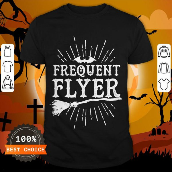 Frequent Flyer Vintage Bat And Witch Halloween Party T-Shirt