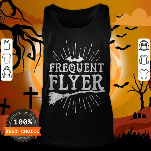 Frequent Flyer Vintage Bat And Witch Halloween Party T-Tank Top