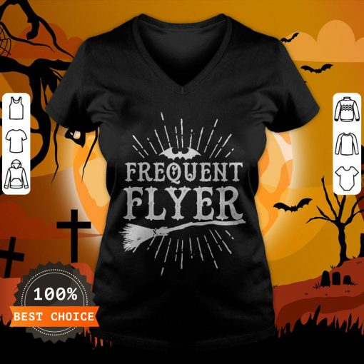 Frequent Flyer Vintage Bat And Witch Halloween Party T-V-neck