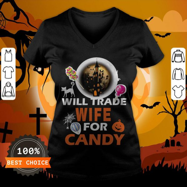 Funny Will Trade Wife For Candy Halloween V-neck