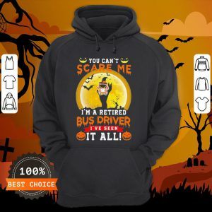 Ghost Witch You Can't Scare Me I'm A Retited Bus Driver I've Seen It All Halloween Hoodie
