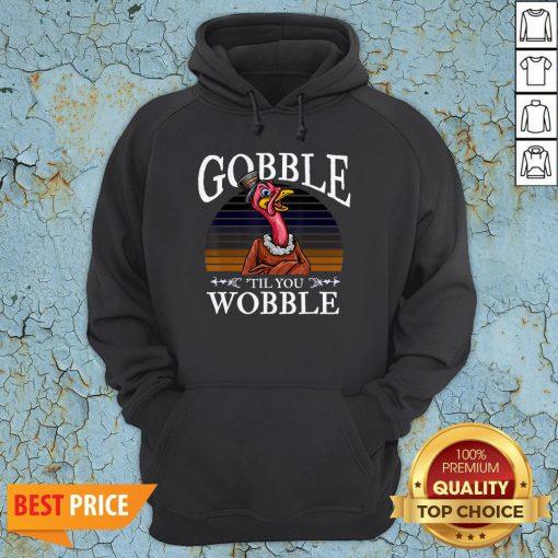 Gobble Til You Wobble Flamingo Vintage Hoodie