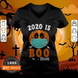 Halloween 2020 Boo Sheet Pumpkin Mask V-neck