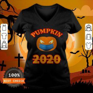 Halloween 2020 Pumpkin Wearing Mask T-V-neck