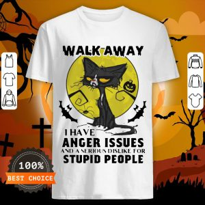 Jiu Jitsu Dad Encouraging His Child To Guillotine Choke Another V-neckHalloween Black Cat And Pumpkin Walk Away I Have Anger Issues And A Serious Dislike For Stupid People Shirt