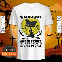 Halloween Black Cat And Pumpkin Walk Away I Have Anger Issues And A Serious Dislike For Stupid People V-neck