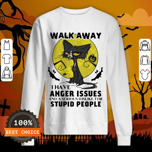 Halloween Black Cat And Pumpkin Walk Away I Have Anger Issues And A Serious Dislike For Stupid People Sweatshirt