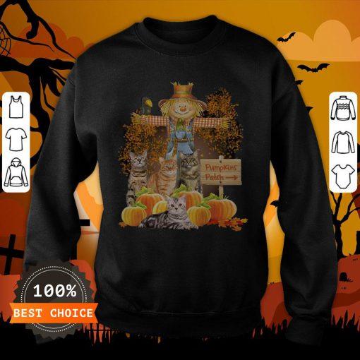 Halloween Cats Figurehead Pumpkins Patch Sweatshirt