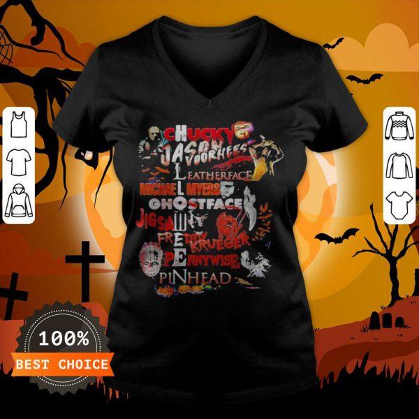 Halloween Chucky Jason Voorhees Leatherface Michael Myers Ghostface Jigsaw Freddy Krueger Pennywise Pinhead V-neck