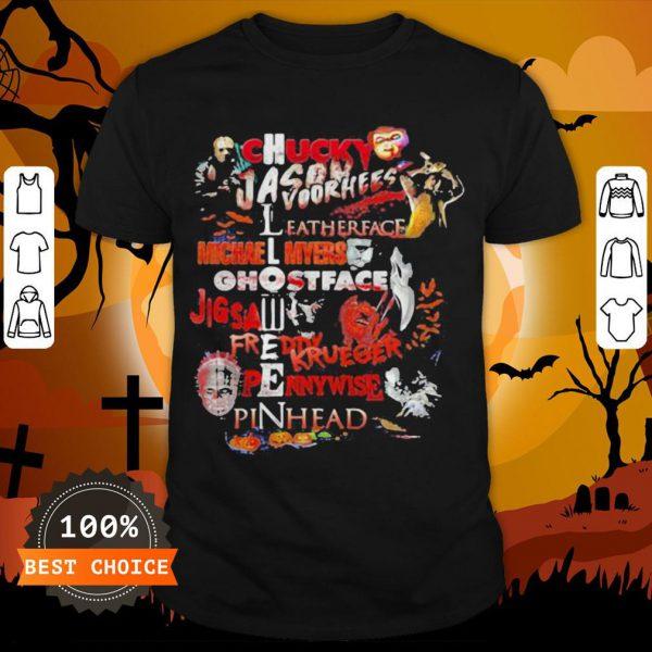 Halloween Chucky Jason Voorhees Leatherface Michael Myers Ghostface Jigsaw Freddy Krueger Pennywise Pinhead Shirt