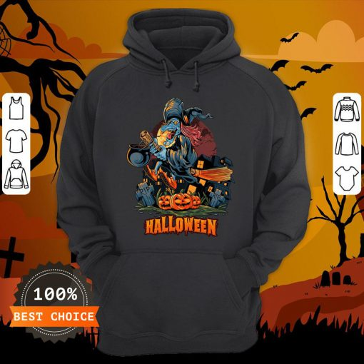 Halloween Witch On Broom T-Hoodie
