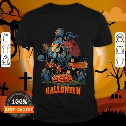 Halloween Witch On Broom T-Shirt