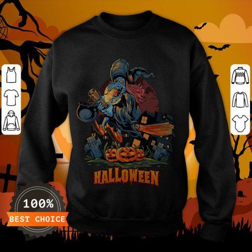 Halloween Witch On Broom T-Sweatshirt
