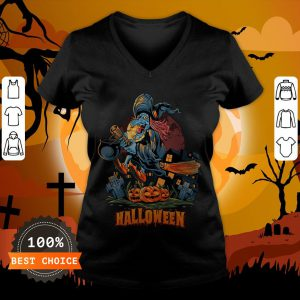 Halloween Witch On Broom T-V-neck
