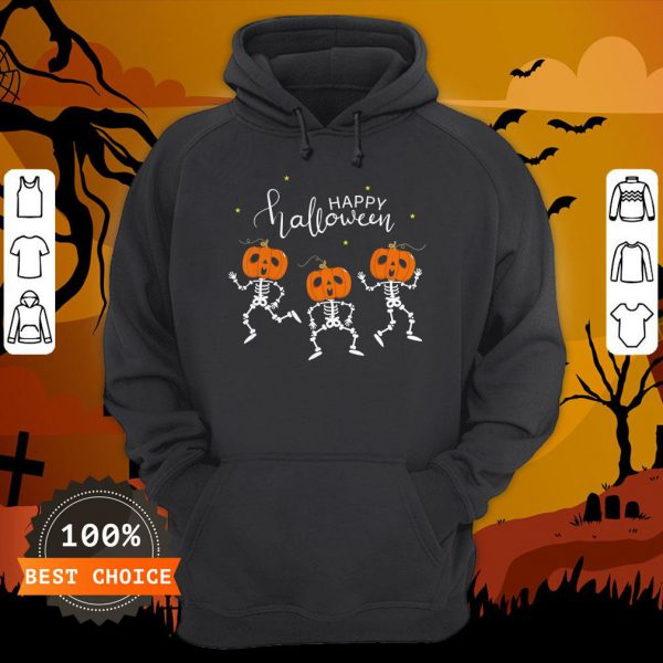 Happy Halloween Shirt Funny Dancing Skeletons Pumpkin Face T-Hoodie