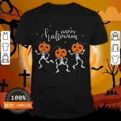 Happy Halloween Shirt Funny Dancing Skeletons Pumpkin Face T-Shirt