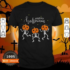 Happy Halloween Shirt Funny Dancing Skeletons Pumpkin Face T-Shirt