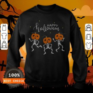 Happy Halloween Shirt Funny Dancing Skeletons Pumpkin Face T-Sweastshirt