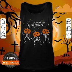 Happy Halloween Shirt Funny Dancing Skeletons Pumpkin Face T-Tank Top