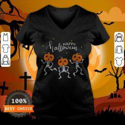 Happy Halloween Shirt Funny Dancing Skeletons Pumpkin Face T-V-neck,