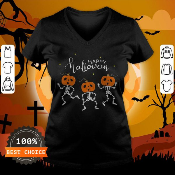 Happy Halloween Shirt Funny Dancing Skeletons Pumpkin Face T-V-neck,