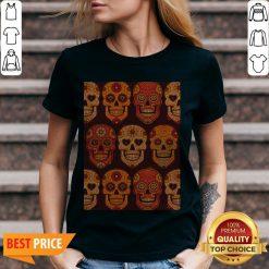 Hot Sugar Skulls Day Of The Dead Muertos V-neck