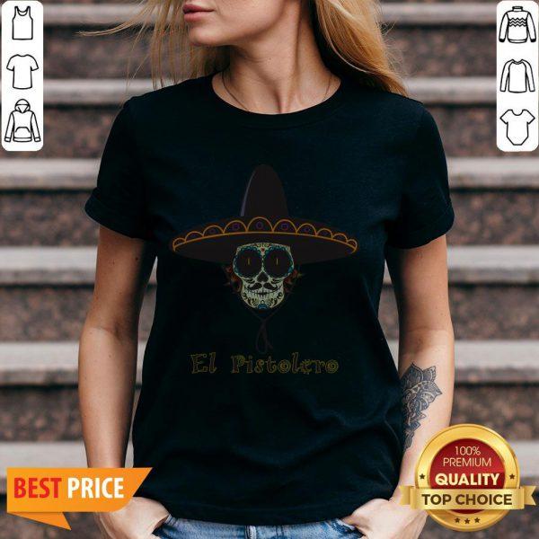 Mexican Sugar Skull El Pistolero Dia De Los Muertos V-neck