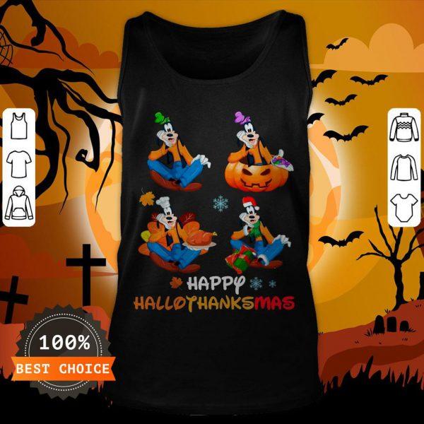 Nice Goofy Happy Hallothanksmas Tank Top