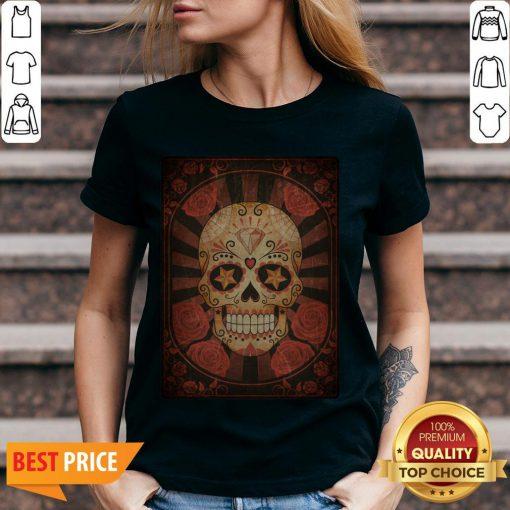 Official Vintage Day Of The Dead Sugar Skull V-neck