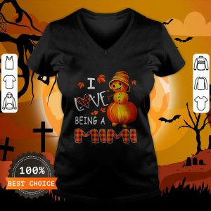 Snowman Pumpkin I Love Being A Mimi Shirt V-neck